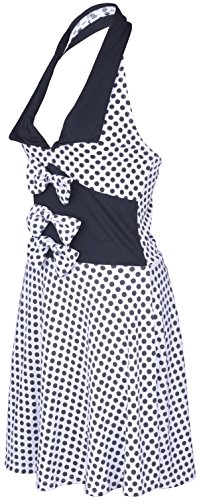 Küstenluder MABLE Polka Dots BOW Neckholder SWING Kleid Rockabilly – Weiß - 3
