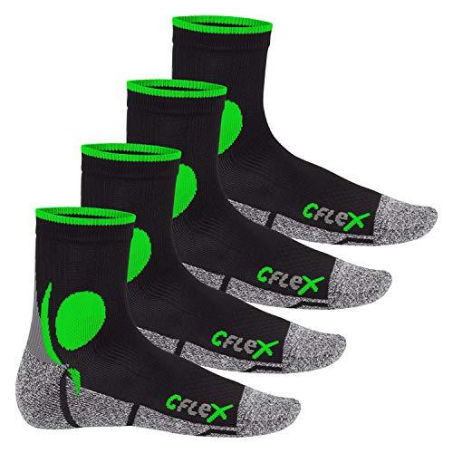 CFLEX Damen und Herren Running Funktions-Socken (4 Paar) Laufsocken - Schwarz-Grün 43-46