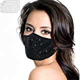 Fashion Rhinestone Face Mask Reusable with 2 Filters,Glitter Bling Face Mask for Women Christmas (E-black&black)