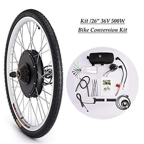 Sfeomi 36V 500W 26'' Kit di Conversione Bici Elettrica Controllo Mozzo Motore Hub E-Bike Ruota Bicicletta Regolatore di velocità (Ruota Posteriore)