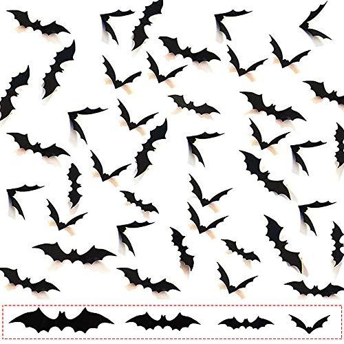 SKYIOL 120 Stück Halloween 3D Fledermäuse Wand Aufkleber 4 Größen Fledermaus Gruselige Fledermaus-Wanddekoration für Fenster Wand, Tür Außen- & Innenbereich DIY Halloween-Partyzubehör