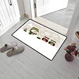"Leigh R. Avans Doormat Indoor Christmas Heavy Duty Doormat Snowman and Owls in Snowy Winter Day with Jingle Bells and Snowflake Figures Image 15"" x 24"" Multi"