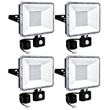 BAM - Store Proiettori a LED da 100W con sensore di Movimento, 6000K-6500K Daylight White White 8000LM Super Bright Security Light, IP67 Giardino Impermeabile PIR Luci di inondazione,4 Pack