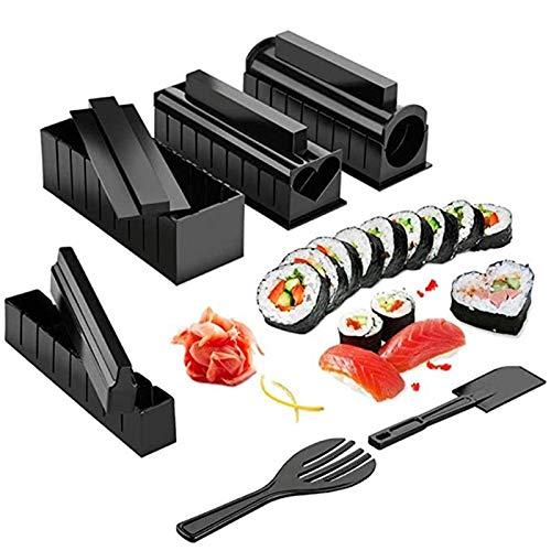 Vtops Kit de fabricación de sushi, 10 piezas DIY Sushis Maker Sushis Herramienta de Cocina Hacer Máquina Rodillo Arroz Molde Sushis Carnes Vegetales Rodando Gadgets de Cocina