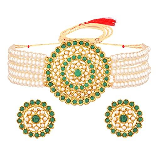 Efulgenz Conjunto de joyas indias con perlas de imitación de cristal, collar y pendientes de perlas de imitación, Metal, desconocido,