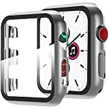 Miimall Funda Compatible con Apple Watch Series 6/5/4/SE 44mm Carcasa Protector Cristal, 2 en 1 PC Case + Vidrio Templado Anti-Choque Protector Pantalla para iWatch Series 6/5/4/SE 44mm - Plata