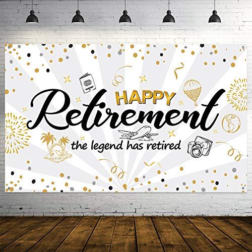 Decoración de Fiesta de Jubilación, Cartel de Señal Dorado y Negro de Tela Extra Grande, Pancarta de Happy Retiremente Pancarta de Fondo de Fotos (Blanco)
