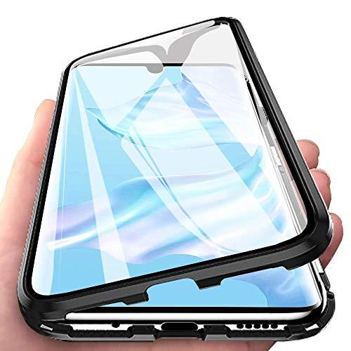 Yichxu Huawei P30 Pro Hülle Magnet, Magnetische Adsorption Handyhülle für Huawei P30 Pro, Einteiliges 360 Grad Gehärtetes Glas Schutzhülle Panzerglasfolie Durchsichtige Hülle Cover, Schwarz