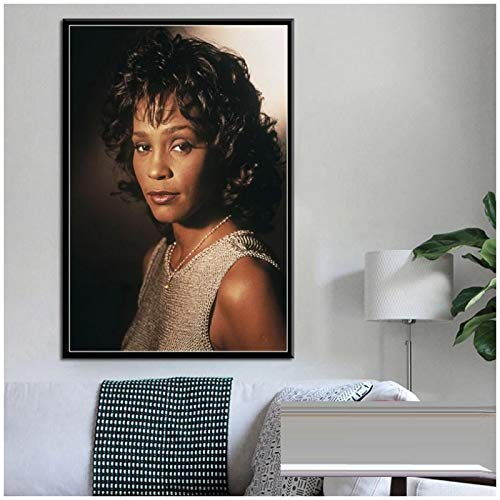 ZQXXX Whitney Houston Super Music Star Pop Singer Art Painting Vintage Canvas Poster Decoración para el hogar Póster e impresiones -50x75cm Sin marco