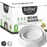 ECOPEST Interceptores de Chinches – Paquete de 4 | Bed Bug Blocker (Pro) Trampas Interceptoras (Blanco) | Trampa de Insectos, Monitor y Detector para Las Patas de la Cama
