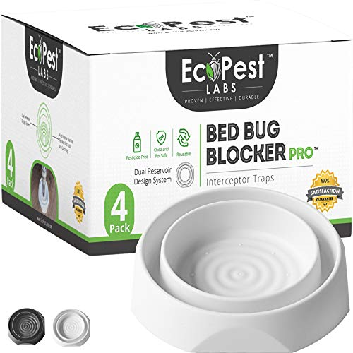 EcoPest Labs Bed Bug Blocker Pro Bed Bug Interceptor Traps Monitors and Detectors  4 Pack White