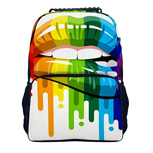 Gay Homosexual Lesbian Rainbow Lips Pride School Backpack, Student Bookbag for Boys Girls Kids Teenagers, fit School, Travel, Outdoors