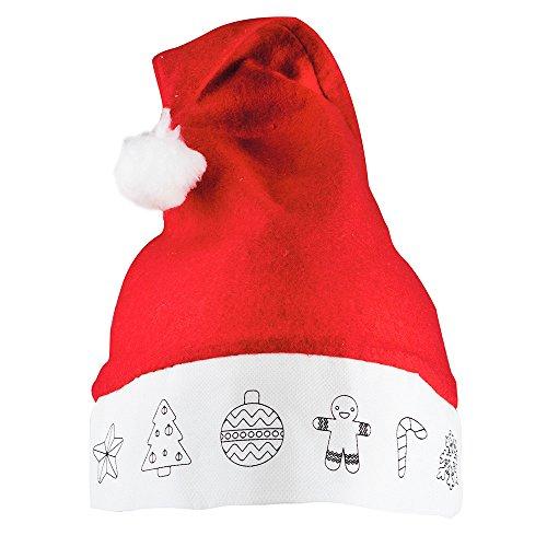 DISOK Lote de 30 Gorros de Papa Noel para Colorear - Ideal para los más peques y niños Infantiles Manualidades, Labores, Navidad