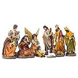XDJ 11 Piezas Jesús Natividad Set De Panger,Resina 30 Centimetros Tradicional Navidad Jesús Ven A Mundo Escena De La Cuna,El Personaje Hogar Sagrado De La Gracia,Religión Decorar Regalos
