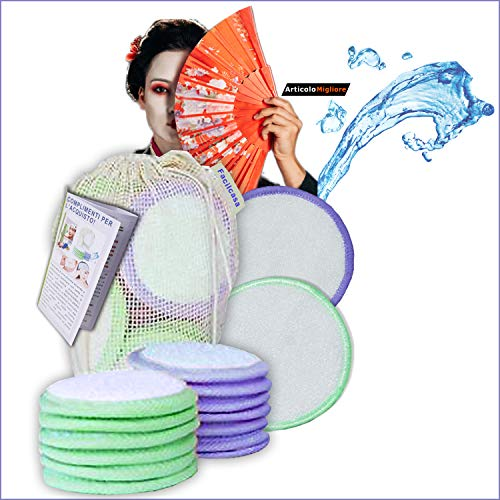 Discos desmaquillantes lavables de bambú. 12 discos desmaquillantes reutilizables, ecológicos. Toallitas desmaquillantes de limpieza facial. Discos para desmaquillar, cero ondas + regalos.