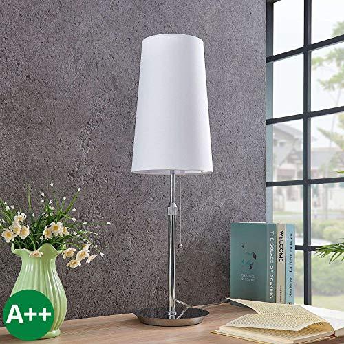 Lámpara de mesa 'Pordis' (Moderno) en Plateado hecho de Metal e.o. para Salón & Comedor (1 llama, E27, A++) de Lucande | lámpara de mesa textil