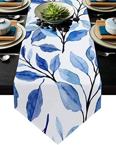 Savannan Kitchen Table Runner Indigo Leaves Watercolor Pattern Burlap Table Runner Dresser Scarves for Family Dinner, Outdoor or Indoor Parties, Gathering, 14'x72'