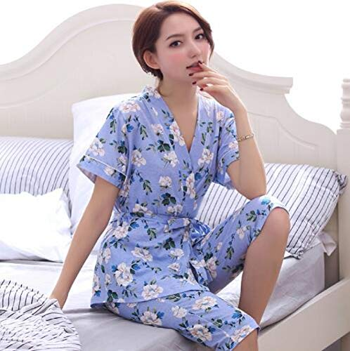 XFLOWR Sommer 100% Baumwolle Blumen Pyjama Damen Set Kurzarm V-Ausschnitt Cardigan...