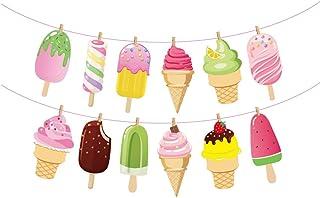 Kristin Paradise Ice Cream Banner, Summer Popsicle Party Sign, Ice-Cream Birthday Decorations, Ice Cream Shop Boy Girl Bab...