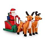 oneConcept X-Mas X-Press - Babbo Natale gonfiabile, Renne, slitta, Decorazione natalizia, all'interno o all'esterno, LED, autogonfiabile, 240 cm, stabile, chiodi da fissaggio, colorato