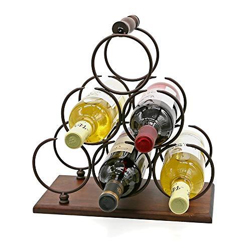 Weinregal für Arbeitsplatte, Tischplatte, Holz, Weinhalter für 6 Flaschen, 3 Ebenen, rustikales klassisches Design, stabiler Griff, einfache Montage, Holz & Metall (Kupfer)
