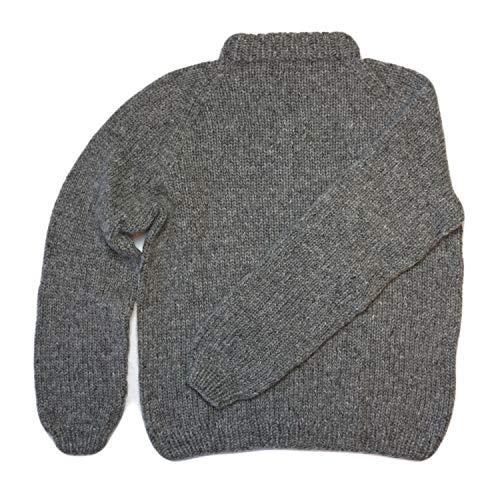 Handprjonasamband Islands Handgestrickter Wollpullover – Islandpullover – Grau – Größe L