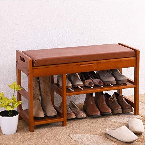 HLL Banco de zapatos de madera maciza Banco de zapatos Banco de zapatos Sofá Taburete de almacenamiento Taburete de almacenamiento Banco de zapatos europeos Banco de zapatos de prueba,color miel,84.2