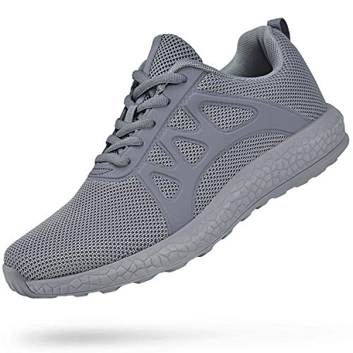 Troadlop Womens Running Shoes Non Slip Walking Air Knitted Lightweight Casual Mesh Breathable Tennins Athletic Gym Sports Fashion Sneakers Grey Size 11 US
