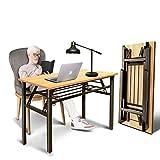 South Ocean Teak Color Desktop Double Folding Desk 39-38'' Length -Computer Desk No Install Needed Black Frame Folding Table for Home, Office Or School