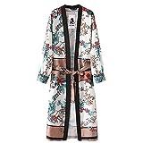 NINGSANJIN Automne Femmes Floral Cardigan Haut en Mousseline de Soie Veste Kimono Blouse Manteau Manches Longue