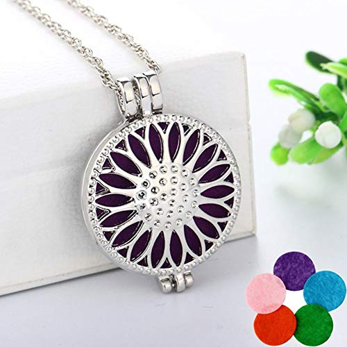 Urns Ashes Funeral Charming Necklace for Women & Women's Round Sunflower Aromatherapy Essential Oil Diffuser Locket Necklace, Best Gift for Her,Colour:OneColor Pet Memorial Dog cat Urn