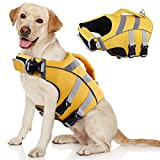 Kuoser Dog Life Jacket with Reflective Stripes, Adjustable High Visibility Dog Life Vest Ripstop Dog Lifesaver Pet Life Preserver with High Flotation Swimsuit for Small Medium and Large Dogs