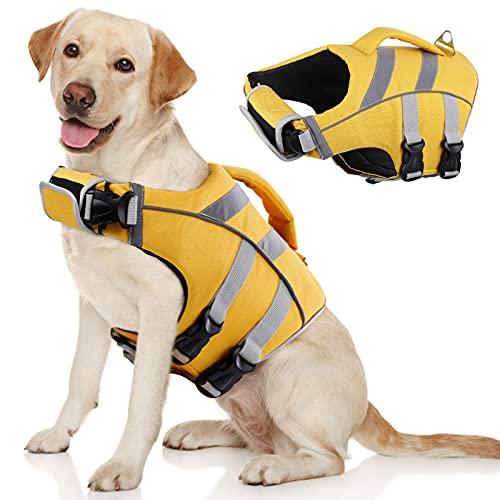 Kuoser Dog Life Jacket with Reflective Stripes, Adjustable High Visibility Dog Life Vest Ripstop Dog...