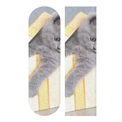 N\A 33.1x9.1inch Sport Outdoor Custom Skateboard Griffband Nettes Katzentier Mit Boxdruck Wasserdichter Longboard Aufkleber Für Tanzbrett Double Rocker Board Deck 1 Blatt