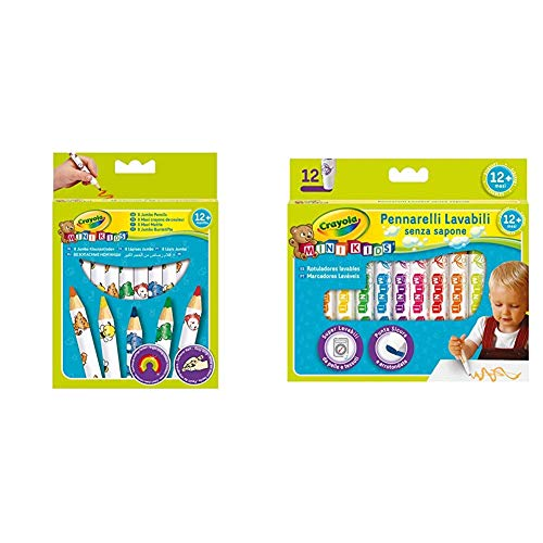 CRAYOLA 3678, Mini Kids Matitoni Decorati, età 12 Mesi, per Asilo e Tempo Libero, Colori Assortiti, 8 Pezzi & Mini Kids Pennarelli, Inchiostro Super Lavabile, Punta Arrotondata di Sicurezza