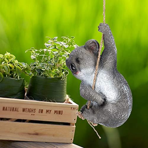 Pangding Decoración de Figuras, Resina de decoración de Koala oscilante, 7.1 x 5.5 x 11 Pulgadas, decoración de jardín, Elementos de jardín y Colores Brillantes para Patios Traseros