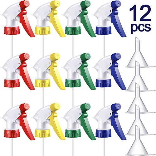 12 Rociador de Gatillo Colorido Boquilla de Botella de Niebla Reemplazo Superior de Botella de Spray y 5 Embudos Transparentes para Botellas Estándar Ajustadas de Cuello 28/ 400, 4 Colores