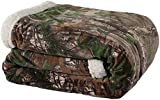 Realtree Xtra Green Mink Sherpa Throw Blanket, 50 x 60 Inches, Super Soft Brown and Green Camo Pattern Mink with White Sherpa Trim for Home, Travel, Camping