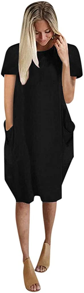 Uppada Women's Plus Size Dress Pullover Jumpsuit Short Sleeve with Pockets Loose Pullover Work Maternity Midi Dress