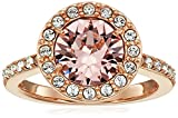 Amazon Collection Rose-Gold-Plated Sterling Silver Swarovski Crystal Crystal Morganite Round Halo Ring Size 8