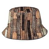 Sombrero de Pescador Unisex Tablón de piso de madera vieja marrón Grunge Lodge Garaje Loft Natural Rural artístico gráfico Plegable De Sol/UV Gorra Protección para Playa Viaje Senderismo Camping