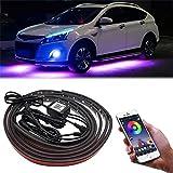 Luz LED de neón para debajo del coche, 12 V Tira de luz LED debajo del coche Color RGB inferiores de neón Luces con sonido activo y control remoto inalámbrico, 35 Pulgada & 23 Pulgada