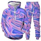 DREAMING-Otoño e invierno gradiente halo dye suéter 3D suéter suelto de manga larga Top + pantalones traje de ejercicio con capucha casual XXL