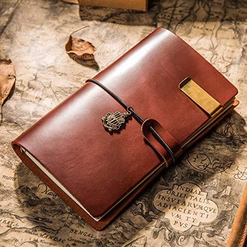 Notebook LKU Vintage lederen reisnotitieboekje A6 A7 A5 notitieblok planner bullet agenda kalender, Koffie, A7