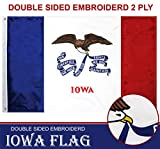 G128 - Iowa State Flag | 3x5 feet | Double Sided Embroidered 210D - Indoor/Outdoor, Brass Grommets, Heavy Duty Polyester, 3-ply