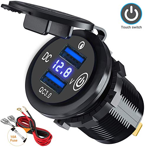 Dual Quick Charge 3.0 Car Charger Socket with Touch Switch and LED Voltmeter, 12V/24V 36W USB Charger Waterproof Power Socket Adapter for Marine, Boat, Motorcycle, Truck, Golf Cart