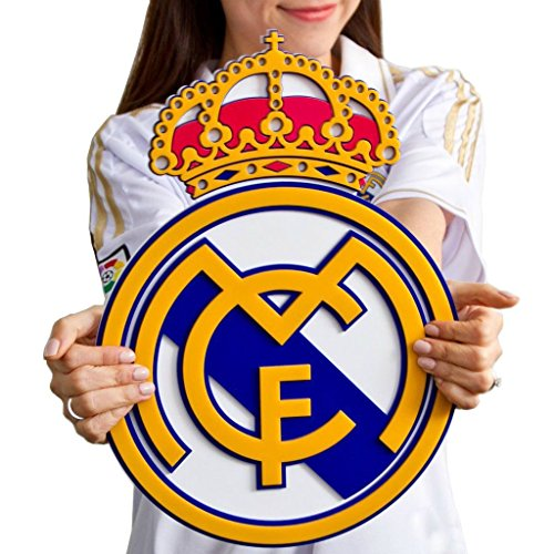 Real Madrid CF soccer crest shield acrylic to hang on wall with stand same as on Ronaldo James Bale Real Madrid jersey