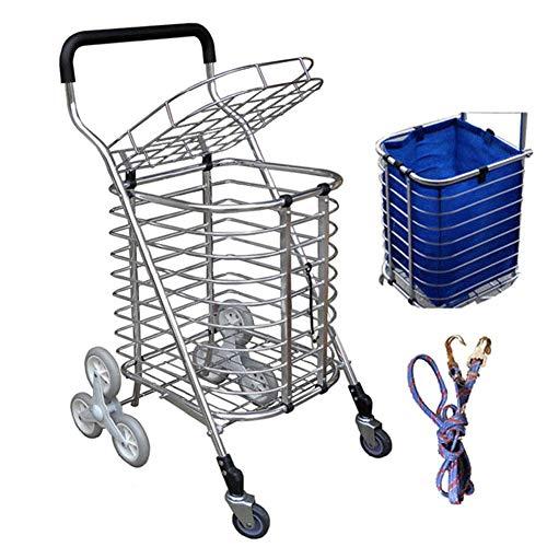 SYue 8-Rad klappbarer Einkaufswagen Leichter Treppensteigwagen mit Abnehmbarer wasserdichter Tasche für Wäsche, Lebensmittel und Markt