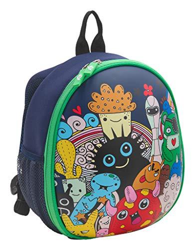 WEDO 2433304 Kinder-Rucksack Monster, stabile Frontseite, 2 Netztaschen außen, mehrere Netztaschen innen, gepolsterte Tragegurte, sehr leicht, leicht zu reinigen