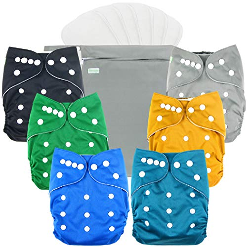 wegreeco Washable Reusable Baby Cloth Pocket Diapers 6 Pack + 6 Bamboo Inserts (with 1 Wet Bag, Boy Prints 02)